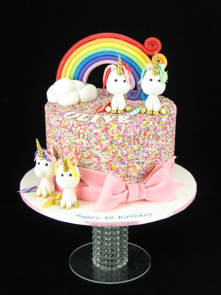 A sparkly, sprinkle covered mud cake with a rainbow and 4 fondant unicorns. www.facebook.com/cakesbyleannerhodes