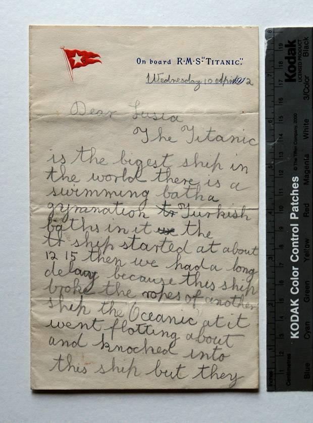 Schoolgirlu0027s unseen letter tells of Titanic accident