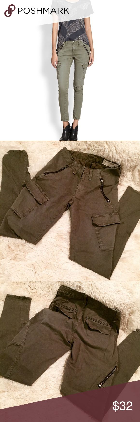 Rag & Bone Army Green Cargo Skinny Jeans Guaranteed authentic. Excellent used condition! Flaws include: none  Super cute at an affordable price. Ask to bundle for a discount. No free ship! rag & bone Jeans Skinny