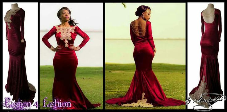 Maroon and gold velvet soft mermaid matric dance dress. With a jewel neckline, long sleeves, open back detailed with chains. #mariselaveludo #fashion #matricdance #matricdress #passion4fashion #lace #maroonandgoldmatricdress #gold #softmermaid #promdress #eveningdress