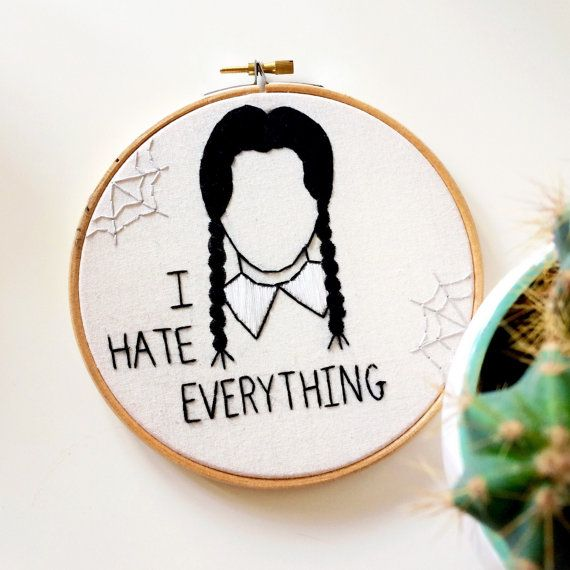 Wednesday Addams embroidery hoop by milkyteea on Etsy