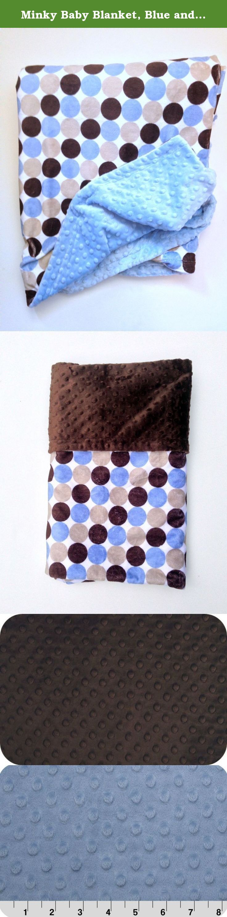 Minky Baby Blanket, Blue and Tan Infant Blanket ,Newborn Car Seat or Stroller Blanket Size 29 x 36. Double minky Infant blanket is extremely soft and cuddly . It has brown blue and tan retro circles on background of White with Minky Dot back. Great for strollers or car seat to tuck in after baby in seat. This blanket is great for all ages and occasions,I use the best minky products and high quality thread to ensure that you will have a durable blanket for years to come. The blanket is top...