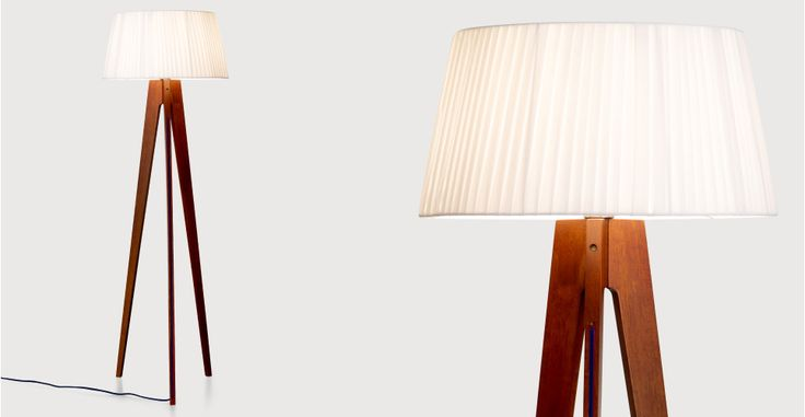 Miller staande lamp, walnoot en donkerblauw | made.com