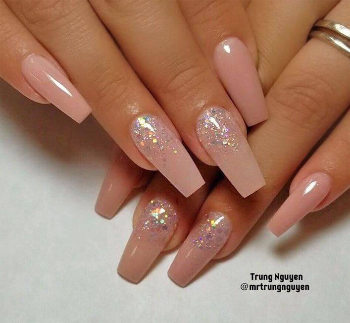 40 Fabulous Nail Designs That Are Totally In Season Right Now Clear Nail Art Designs Almond Nail Art Design Pink Glitter Nails Pink Acrylic Nails Clear Nails
