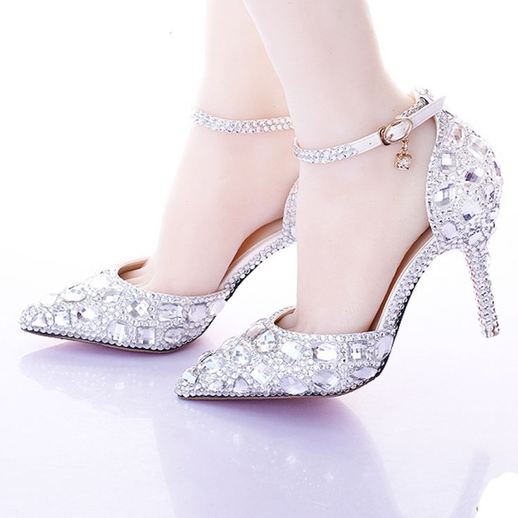 >> Click to Buy << Silver Pumps AB Color Bridal Shoes Rhinestone High Heel Glitter Women Pumps Pointed Toe Ankle Straps Wedding Shoes #Affiliate