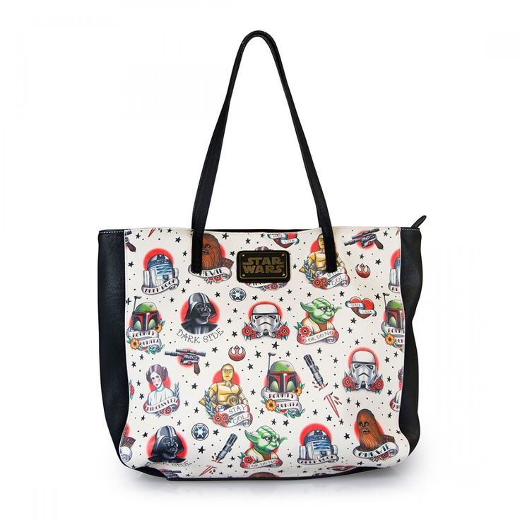 The Star Wars Tattoo Flash Print Faux Leather Tote Bag is a printed faux leather tote bag that displays the many characters of the original Star Wars trilogy in colour with their most memorable sayings or names.  This tote bag will allow you to carry everything a Rebel needs for resistance.