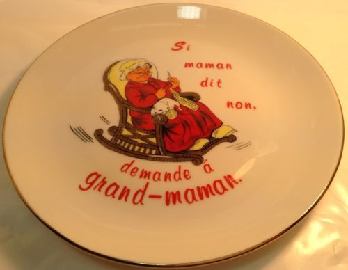 vintage decorative plate si maman dit non demande a grand maman assiette deco nice vintage. Black Bedroom Furniture Sets. Home Design Ideas