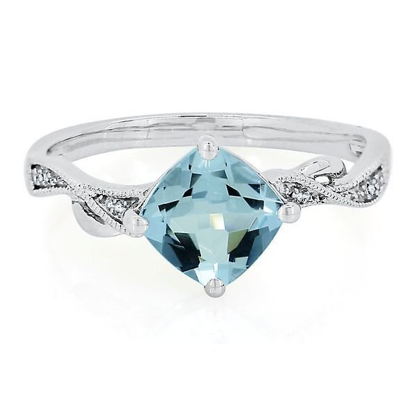 Aquamarine Diamond Ring In 10k White Gold 2306102 Helzberg Diamonds Classy Engagement Ring Helzberg Diamonds Diamond