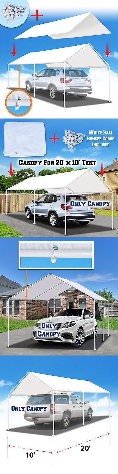 Awnings and Canopies 180992: New 10 X20 Canopy For Carport Tent Garage Tarp Top Shelter Cover W Ball Bungees -> BUY IT NOW ONLY: $49.99 on eBay!