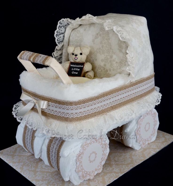 Vintage Diaper Cake Carriage www.facebook.com/DiaperCakesbyDiana