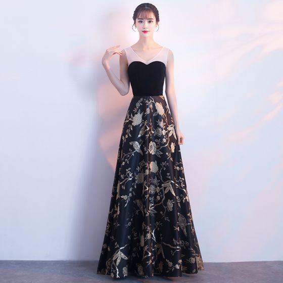 Elegant Black Gold Evening Dresses 2018 A-Line   Princess Embroidered  V-Neck Backless Sleeveless Floor-Length   Long Formal Dresses c0e198cd26ce