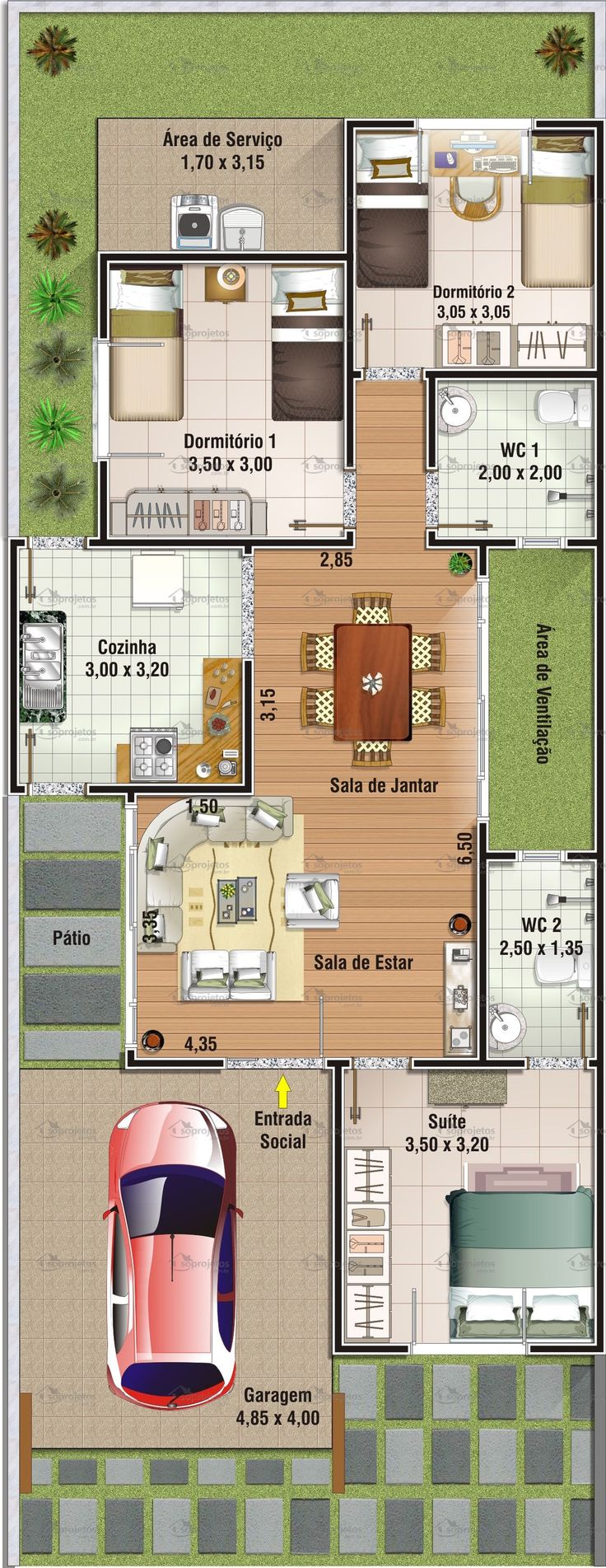 Projeto de casa com 3 dormitórios, sendo 1 suíte.    Garagem, com 19,40 m² de área, com acesso lateral para a cozinha. Sala de estar e jantar conjugadas    Telhado...