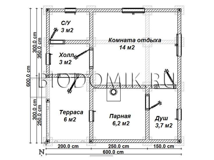 Проект бани 6х6 с террасой » Недорого построим баню под ключ » Строительство в Ленобласти и Подмосковье