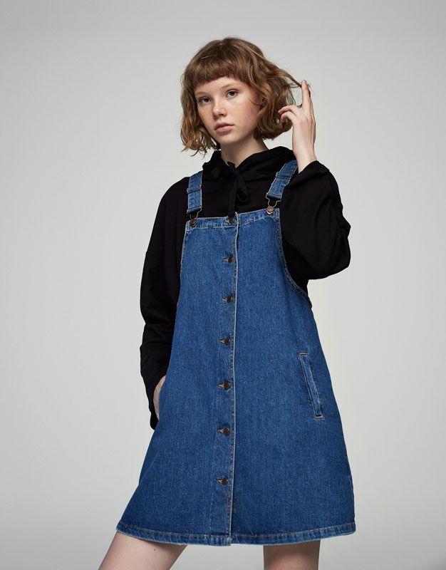 Önlük tipi denim elbise - Elbi̇seler - Giyim - Kadın - PULL&BEAR Türkiye