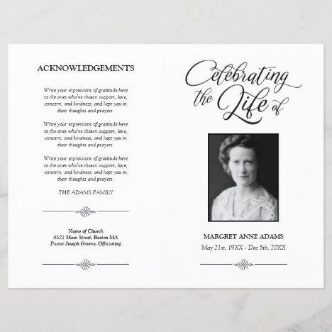 Elegant Celebration of Life Funeral Program #funeral #funerals #memorium #memorial