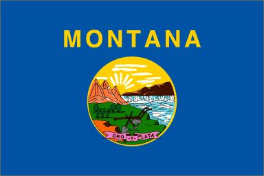 """Montana's State Flag (Entered the Union on November 8, 1889, 41st state) ~ Origin of Name: Spanish for """"mountainous: ~ State Motto: Gold and Silver ~ State Song: """"Montana"""" ~ State Forests: 7 and State Parks: 42 ~ Famous For: Glacier Park, Yellowstone Park, Bighorn Mountains, Wildlife"""