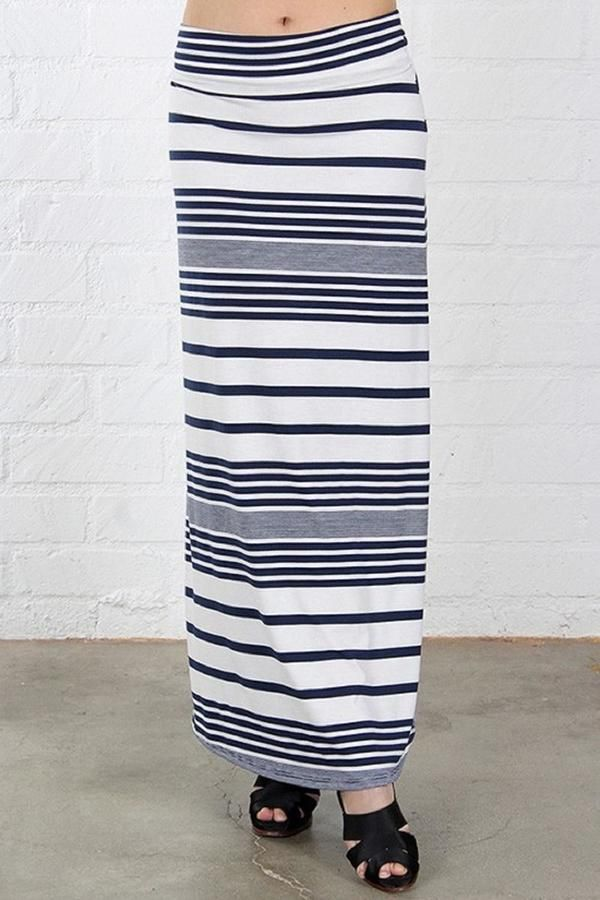 Promesa USA Stripped Maxi Skirt