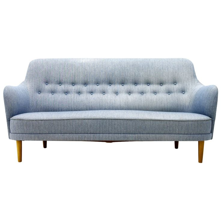 Carl Malmsten Sofa With Light Blue Fabric, Sweden, 1940s
