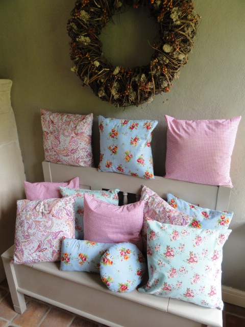 Handmade pillows in bright colors  40 x 40 cm.