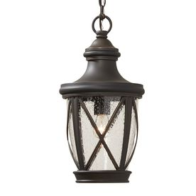 Castine 16.93-in Rubbed Bronze Outdoor Pendant Light $89.00 @ Lowes. Use as exterior hanging lantern on front porch maybe inside as you walk in above the entry between the columns.