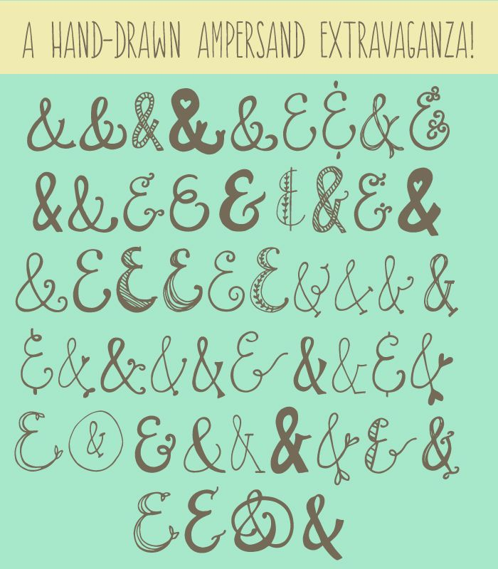 This Ampersands Font, Quirky Sands, Includes Tons of Hand Drawn Ampersands. Perfect for Your Next Project needing that perfect &.