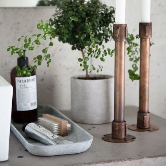 Some bathroom styling inspo via Pinterest this morning. Get the look with our range of La Bruket body products & a Zakkia Concrete Planter & Tray green #bathroom #bathroom styling #bathroominspo #concrete #everydayluxury #whitehomeboutique by whitehomeboutique