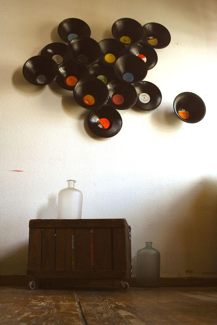 Tapete war gestern...! Wandschalen aus Schallplatten. #upcycling #DIY