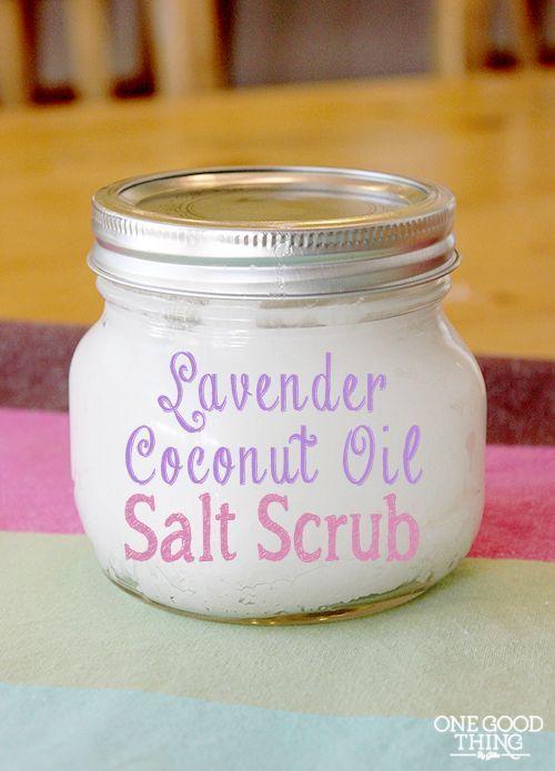 Homemade Lavender Coconut Oil Salt Scrub