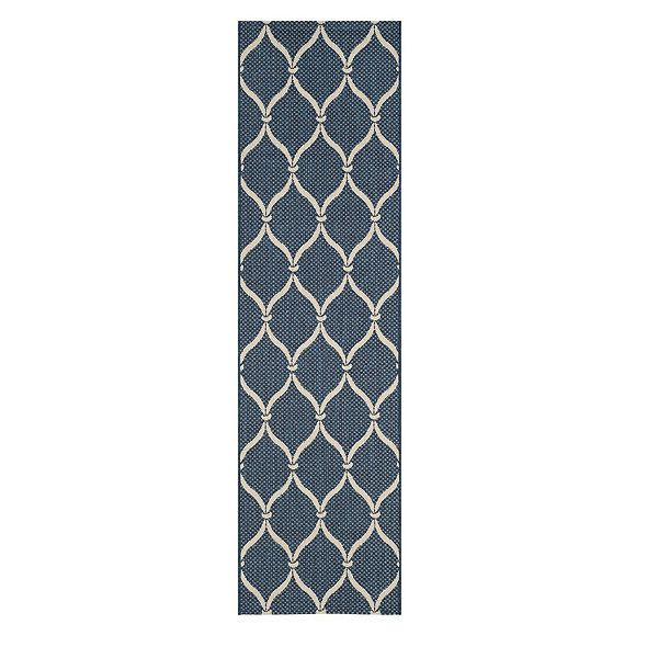 The stylized trellis motif reminds us of Mediterranean grillwork. Machine loomed in a surprisingly soft weave of washable, fade-resistant polypropylene. Use of a rug pad is recommended.Palmetto Indoor/Outdoor Rug features: Great for high-traffic, spill-prone areasSizes are approximatePattern scale & repeat will vary with rug sizeImported
