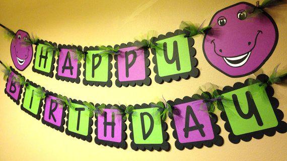 Barney the Dinosaur Happy Birthday Banner by PaperPiecingDreams