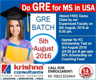 Do GRE for MS in USA: Attend Free Demo Class by Our Experienced Faculty on 5 August 2016 at 6.30 PM..  Call : 9822102444