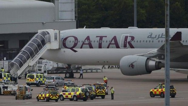 British fighter jets escort Qatar Airways plane