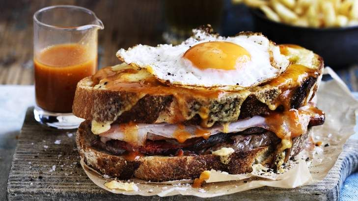 Adam Liaw's Francesinha, it is the Portuguese version of the croque-Madame toastie. Delish!