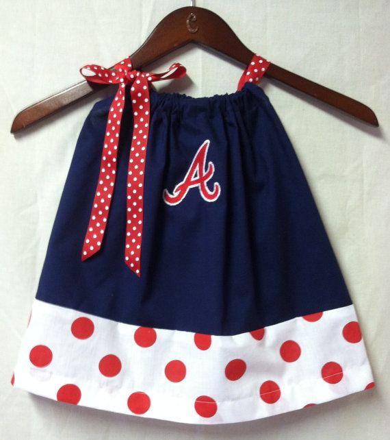 Atlanta Braves Embroidered pillowcase dress MUST MAKE