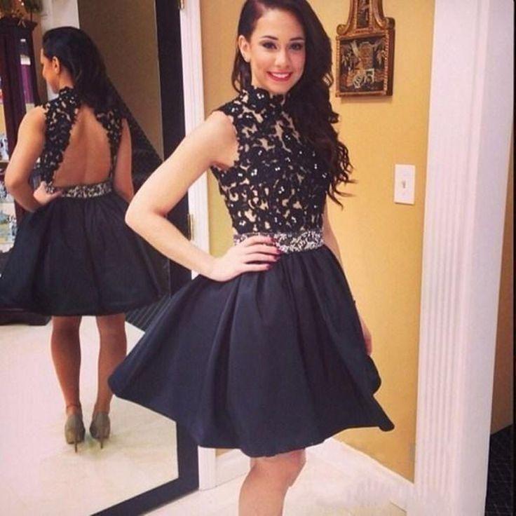 Short Black Homecoming Dress Lace Top Open Back High Neckline Teens Back To School Dress Custom Size