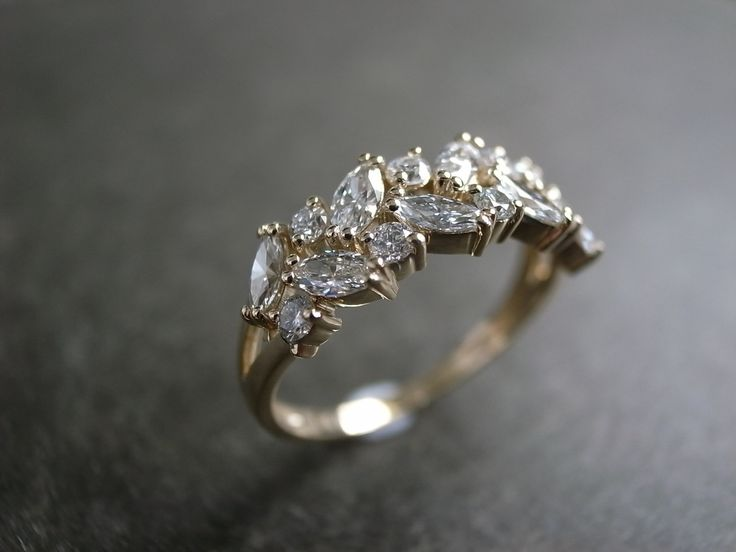 Perfect Final Marquise Diamond Wedding Ring in K Yellow Gold via Etsy