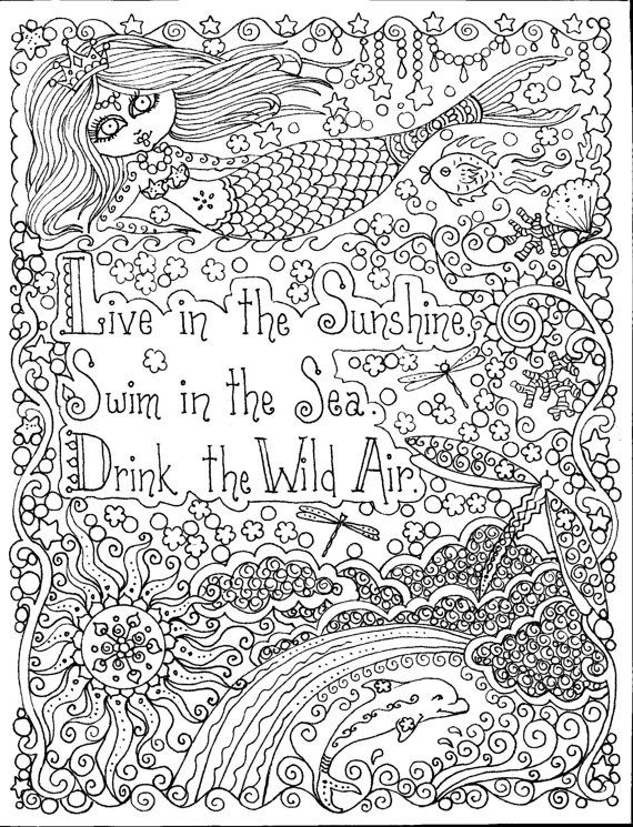 Chubby Mermaid Live In The Sunshine Swim Sea Drink Wild Air Find This Pin And More On Adult Coloring Pages