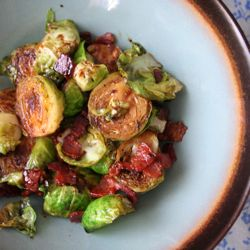 caramelized brussel sprouts with bacon, brown sugar, and balsamic.