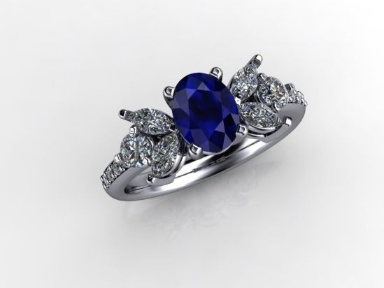 'FLORENCE' --  Pretty Floral Engagement set with Oval Faceted Sapphire  with Marquise and Brlliant Cut Diamonds in 18ct White Gold -   Sapphire Wt - 0.82ct:     Dia.Wt. 0.55 ct - G/V