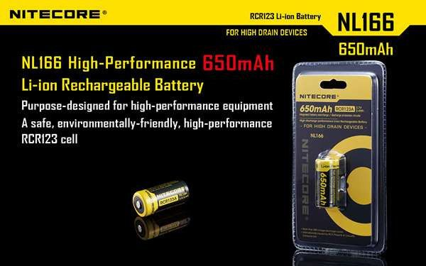 Nitecore RCR123A Li-ion Rechargeable Battery (NL166) 650mAh 3.7V 2.4Wh Integrated battery overcharge / discharge protection circuits High discharge performance Li-ion Rechargeable Battery More than 500 charge-discharge cycles Internationally insured by Ping An Insurance (Group) Company of China, Ltd.  #hidcanada