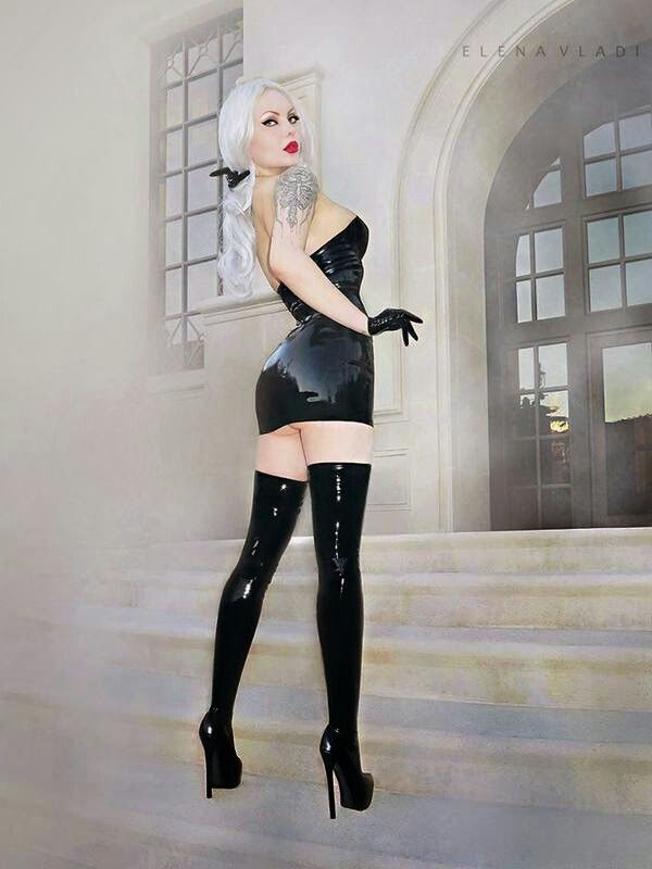 Latex dress and stockings