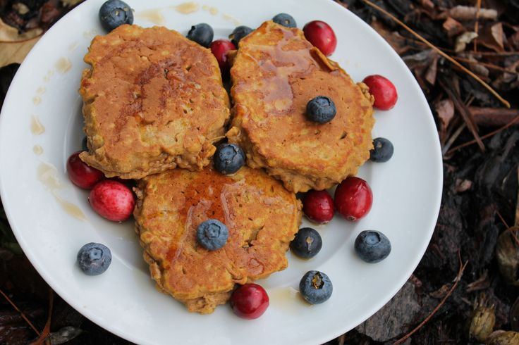 Pumpkin pancakes!!  The best parts?  Less than 10 minutes to make the batter, refined sugar-free, lactose-free AND gluten-free.  Happy days :-D