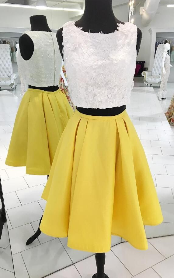 two piece homecoming dress, white lace homecoming dress, yellow homecoming dress, 2017 short homecoming dress,party dress