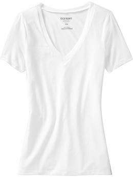 hands down THE BEST white v-neck t-shirt I have ever owned. I buy them in bulk when they go on sale. Women's Vintage-Style V-Neck Tees   Old Navy