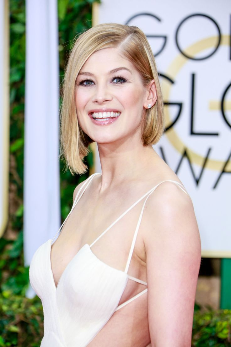 Rosamund Pike Wearing Vera Wang at 2015 Golden Globe Awards in Beverly Hills