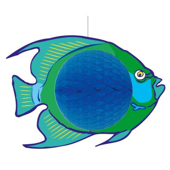 Hangende blauwe vis decoratie 28 x 40 cm  Hangdecoratie blauwe vis 28 x 40 cm. Hangdecoratie van een vis in de kleuren blauw met groen. De decoratie vis is gemaakt van brandvertragend papier en karton.  EUR 9.95  Meer informatie