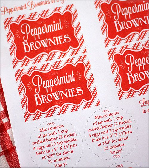 Pepermint brownies in a jar with FREE printable by Skip to My Lou for  iheartnaptime.net #recipes #christmasgifts