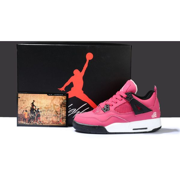 Women's Nike Jordan 4 Retro Shoes Rose Red/Black WJ4-006 via Polyvore