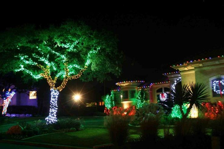 New Post red and green christmas lights on house