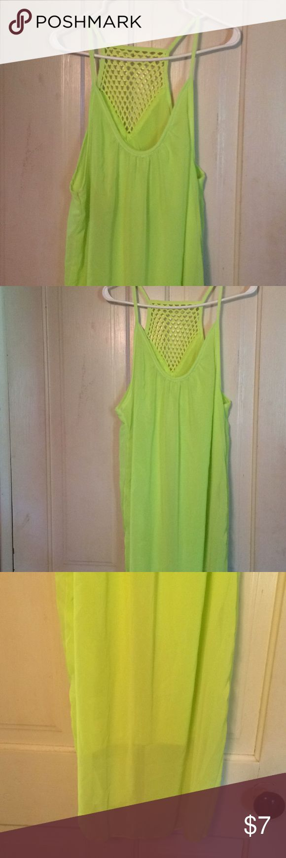 Large neon green dress New but no tags, lined but thin dress, could be used as a swimsuit coverup Dresses Mini